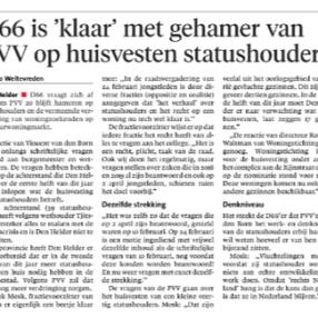 D66 Den Helder klaar met PVV